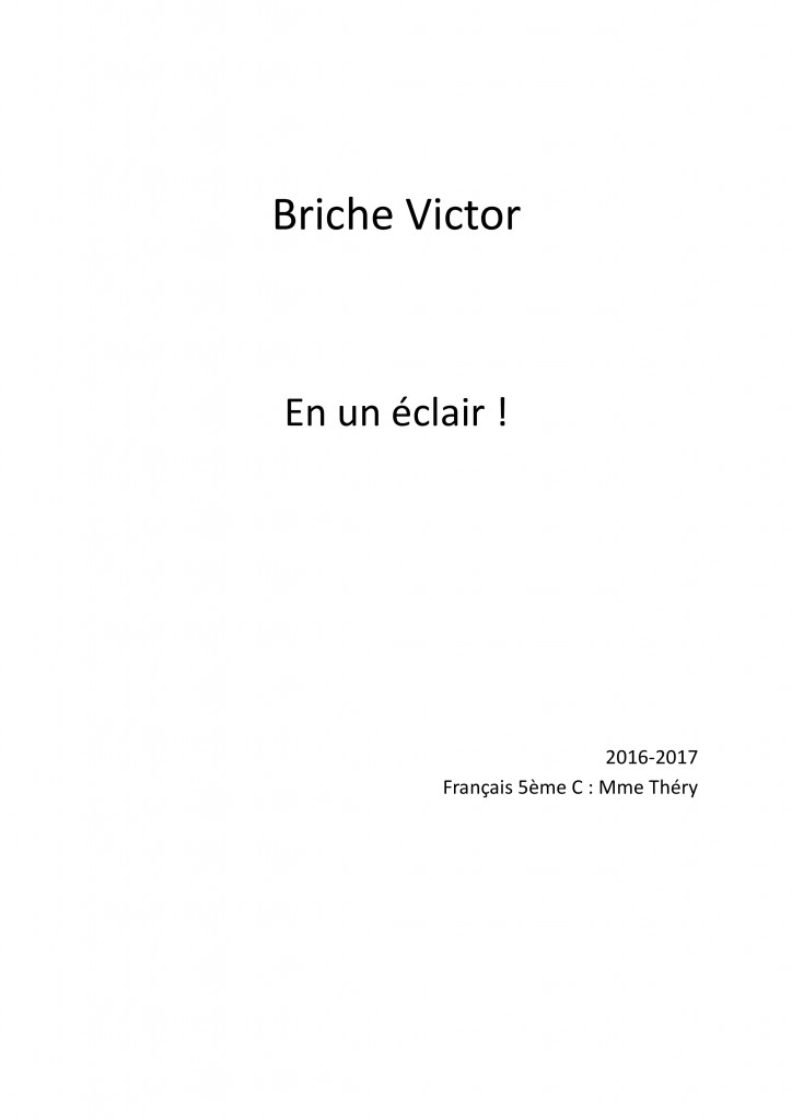 En un éclair correction Briche Victor